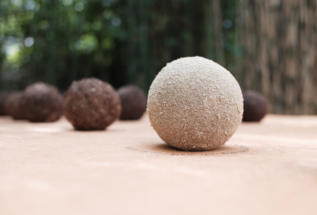 Image: reversible, unfired earth, a so-called dorodango I made with the dune sands beneath my home. Sand that has been untouched for the past 120 years.