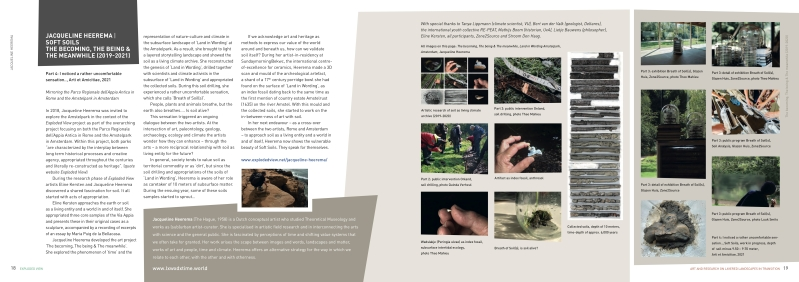 Soft Soils, essay 'Mirroring the Parco Regionale dell'Appia Antica in Rome and the Amstelpark in Amsterdam', published in 'Exploded View, Art and Research on Layered Landscapes in Transition' by CLUE+, the Interfaculty Research Institute for Culture, Cognition, History and Heritage atVrije UniversiteitAmsterdam.